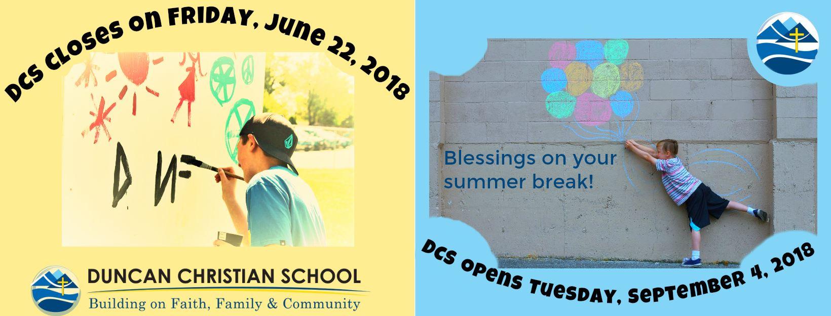 Summer Break – June 22 – Sept 4