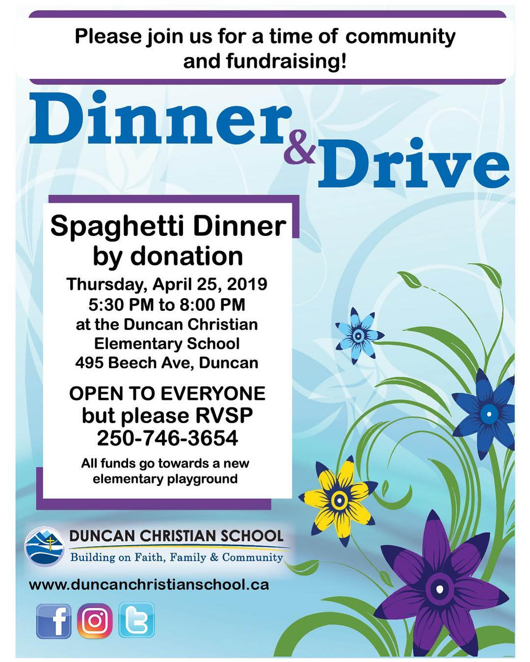 Spaghetti Dinner – By Donation – April 25 – 5:30 PM – 8:00 PM
