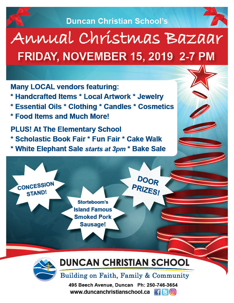 Annual DCS Bazaar – November 15, 2-7PM